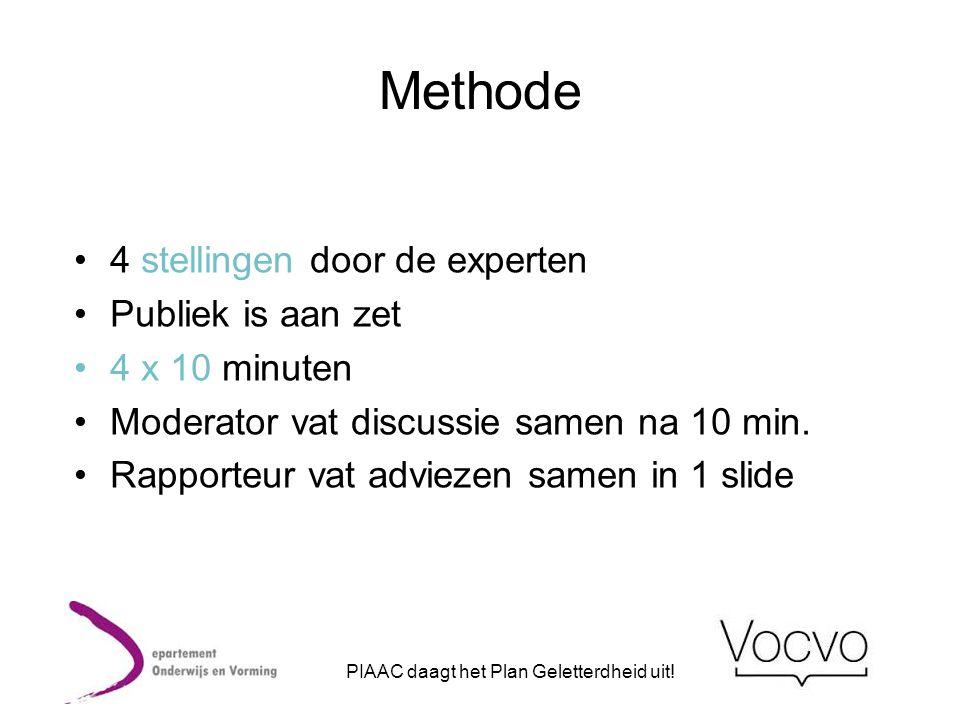 Methode •4 stellingen door de experten •Publiek is aan zet •4 x 10 minuten •Moderator vat discussie samen na 10 min. •Rapporteur vat adviezen samen in