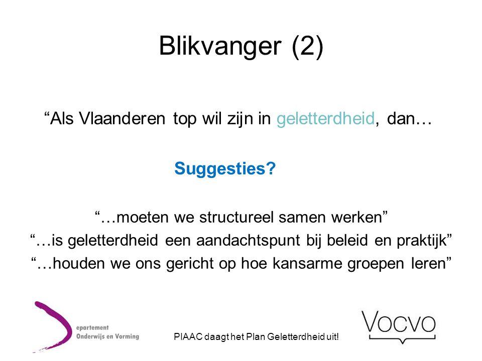 """""""Als Vlaanderen top wil zijn in geletterdheid, dan… Suggesties? """"…moeten we structureel samen werken"""" """"…is geletterdheid een aandachtspunt bij beleid"""