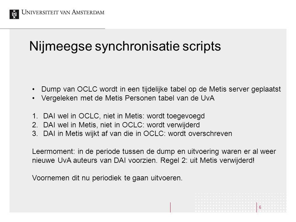 7 Verbeteringen  Trigger voor aanmaken DAI: niet aanstelling maar eerste publicatie.
