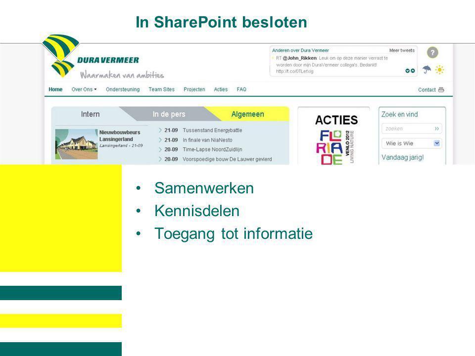 In SharePoint besloten •Samenwerken •Kennisdelen •Toegang tot informatie