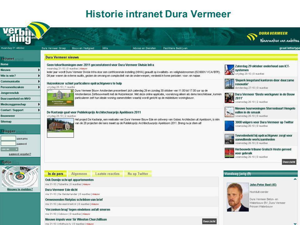 Historie intranet Dura Vermeer