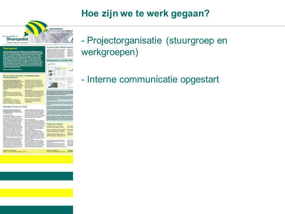 Hoe zijn we te werk gegaan? - Projectorganisatie (stuurgroep en werkgroepen) - Interne communicatie opgestart