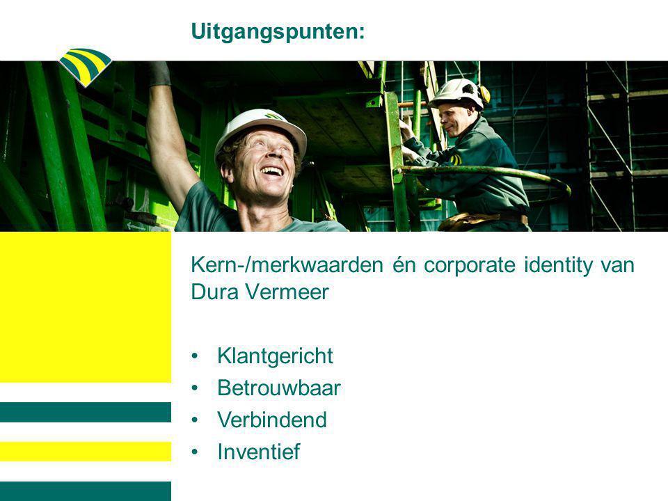 Uitgangspunten: Kern-/merkwaarden én corporate identity van Dura Vermeer •Klantgericht •Betrouwbaar •Verbindend •Inventief