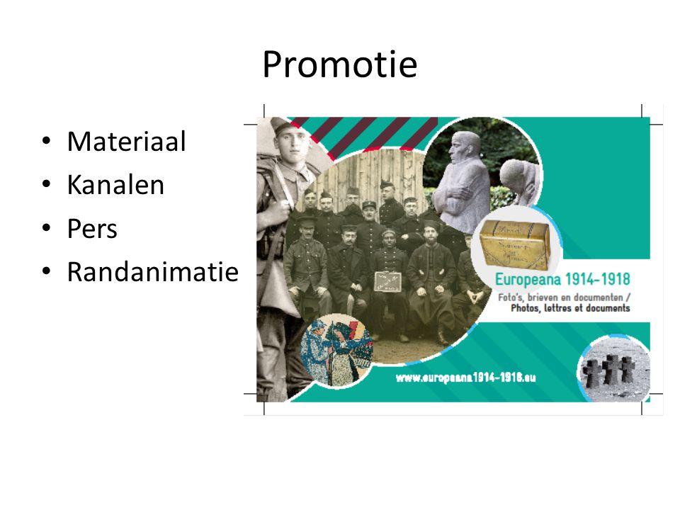 Promotie • Materiaal • Kanalen • Pers • Randanimatie