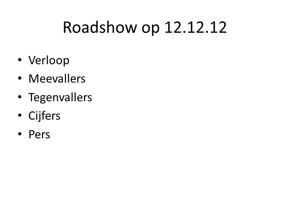 Roadshow op 12.12.12 • Verloop • Meevallers • Tegenvallers • Cijfers • Pers