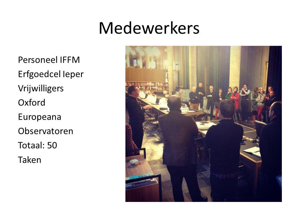 Medewerkers Personeel IFFM Erfgoedcel Ieper Vrijwilligers Oxford Europeana Observatoren Totaal: 50 Taken
