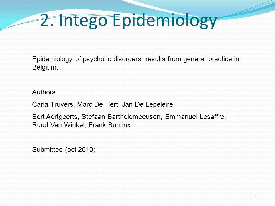 12 2. Intego Epidemiology Epidemiology of psychotic disorders: results from general practice in Belgium. Authors Carla Truyers, Marc De Hert, Jan De L