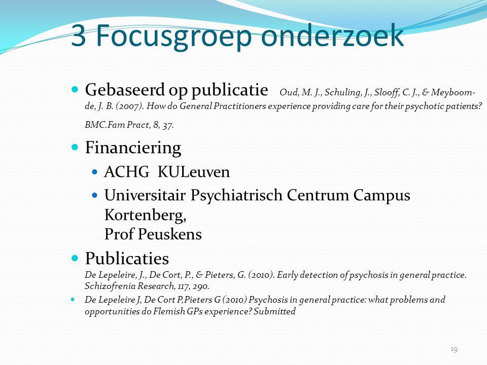 19 3 Focusgroep onderzoek  Gebaseerd op publicatie Oud, M. J., Schuling, J., Slooff, C. J., & Meyboom- de, J. B. (2007). How do General Practitioners