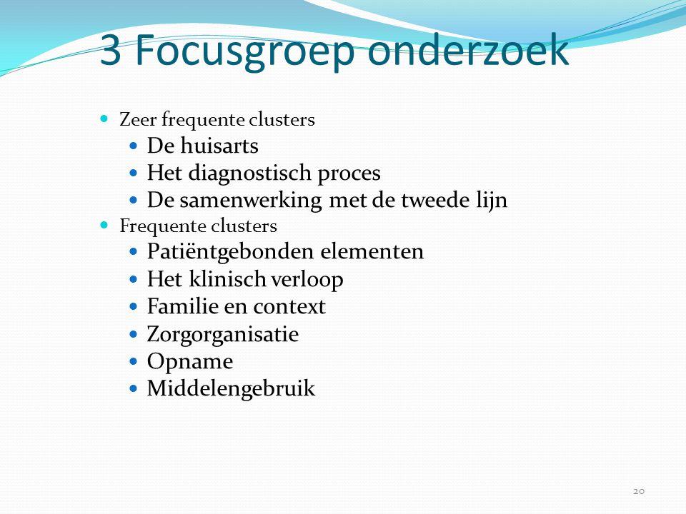 20 3 Focusgroep onderzoek  Zeer frequente clusters  De huisarts  Het diagnostisch proces  De samenwerking met de tweede lijn  Frequente clusters