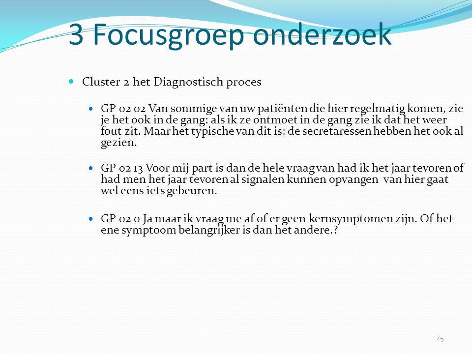 25 3 Focusgroep onderzoek  Cluster 2 het Diagnostisch proces  GP 02 02 Van sommige van uw patiënten die hier regelmatig komen, zie je het ook in de