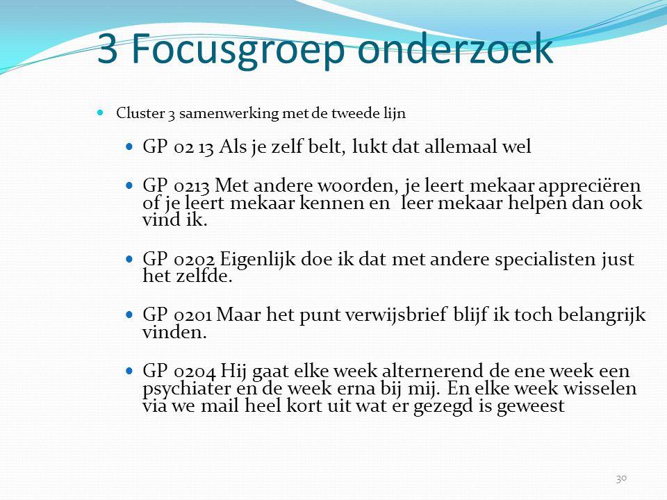 30 3 Focusgroep onderzoek  Cluster 3 samenwerking met de tweede lijn  GP 02 13 Als je zelf belt, lukt dat allemaal wel  GP 0213 Met andere woorden,