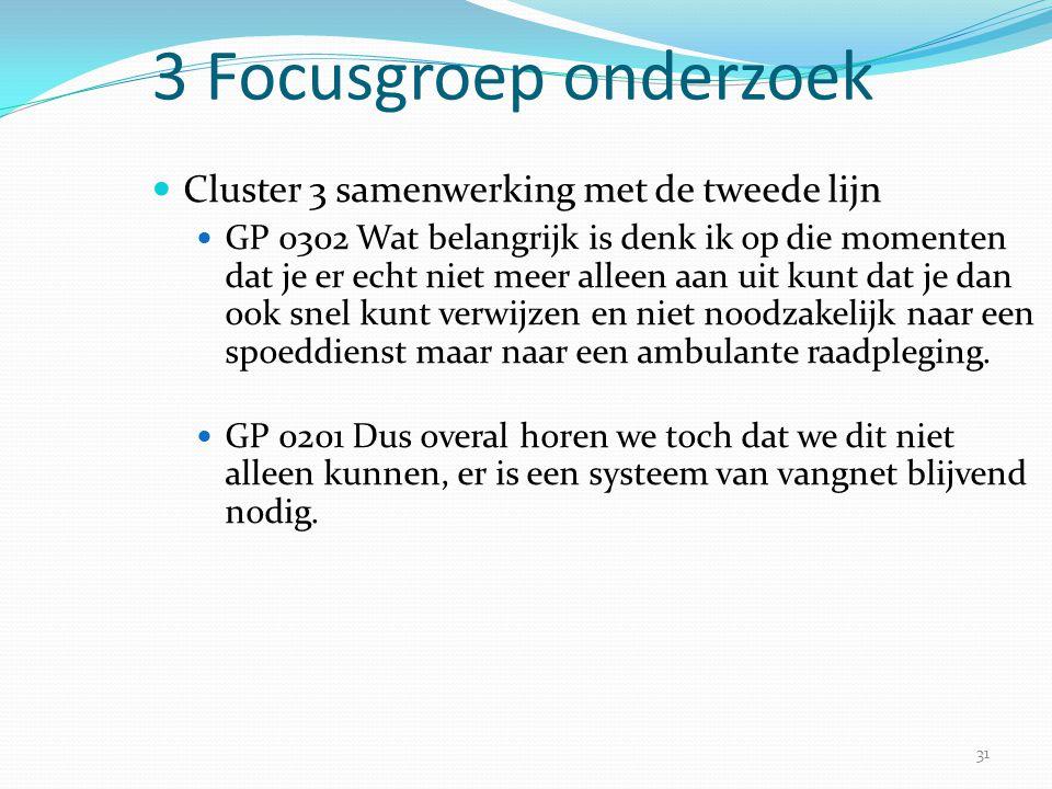 31 3 Focusgroep onderzoek  Cluster 3 samenwerking met de tweede lijn  GP 0302 Wat belangrijk is denk ik op die momenten dat je er echt niet meer all