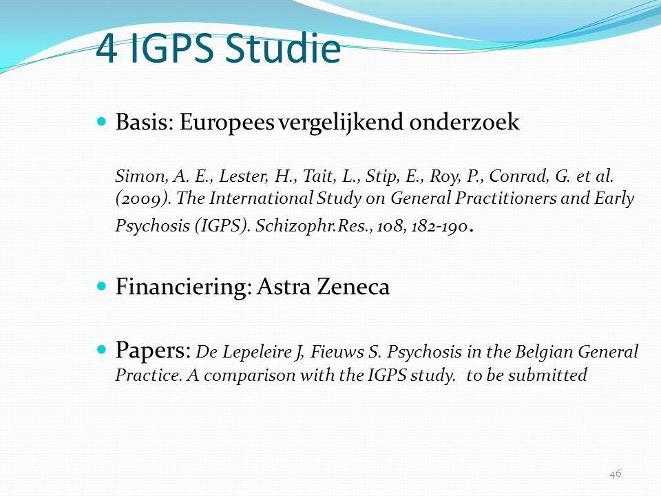 46 4 IGPS Studie  Basis: Europees vergelijkend onderzoek Simon, A. E., Lester, H., Tait, L., Stip, E., Roy, P., Conrad, G. et al. (2009). The Interna