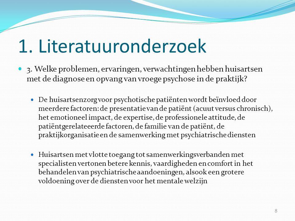 1. Literatuuronderzoek  3. Welke problemen, ervaringen, verwachtingen hebben huisartsen met de diagnose en opvang van vroege psychose in de praktijk?