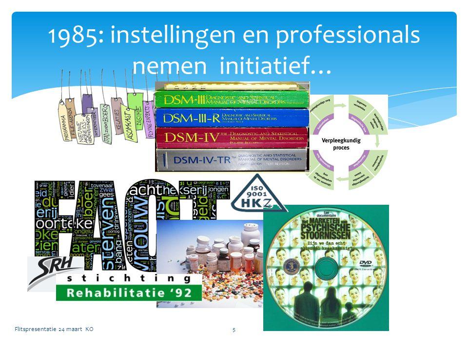 1985: instellingen en professionals nemen initiatief… Flitspresentatie 24 maart KO5