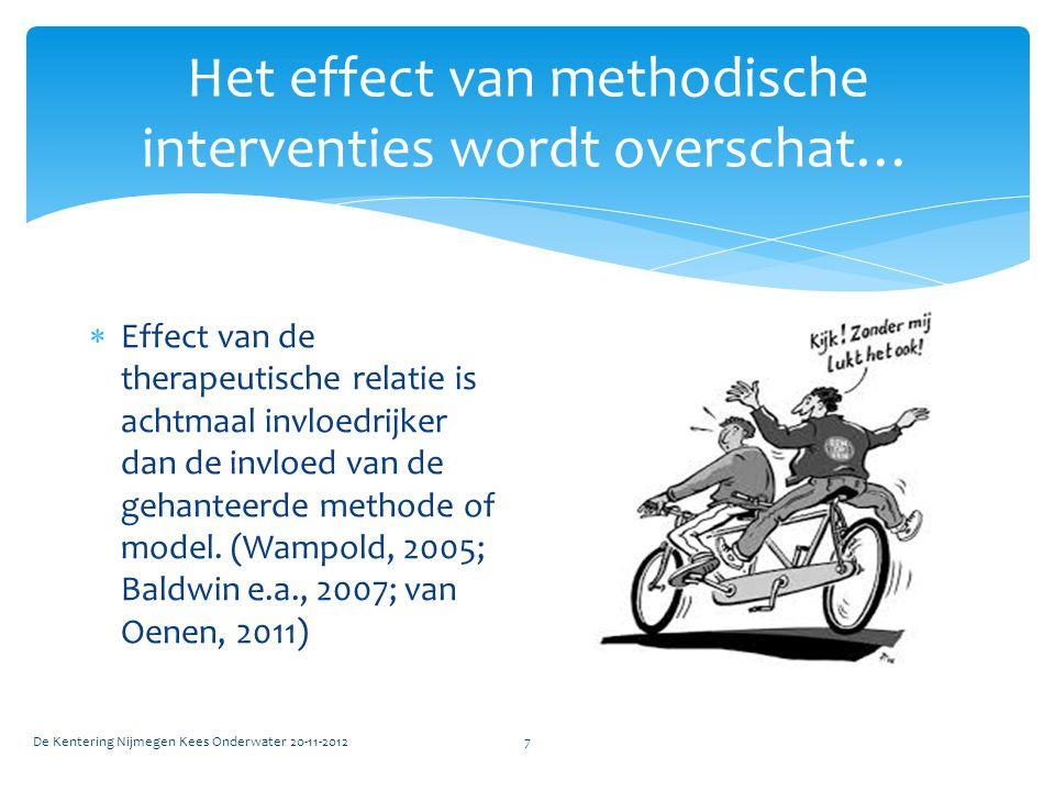 Het effect van methodische interventies wordt overschat… De Kentering Nijmegen Kees Onderwater 20-11-20127  Effect van de therapeutische relatie is achtmaal invloedrijker dan de invloed van de gehanteerde methode of model.