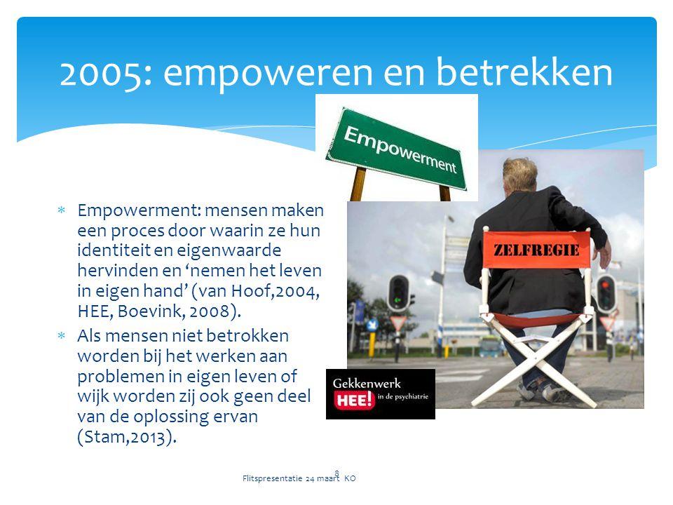 2005: empoweren en betrekken Flitspresentatie 24 maart KO 8  Empowerment: mensen maken een proces door waarin ze hun identiteit en eigenwaarde hervinden en 'nemen het leven in eigen hand' (van Hoof,2004, HEE, Boevink, 2008).