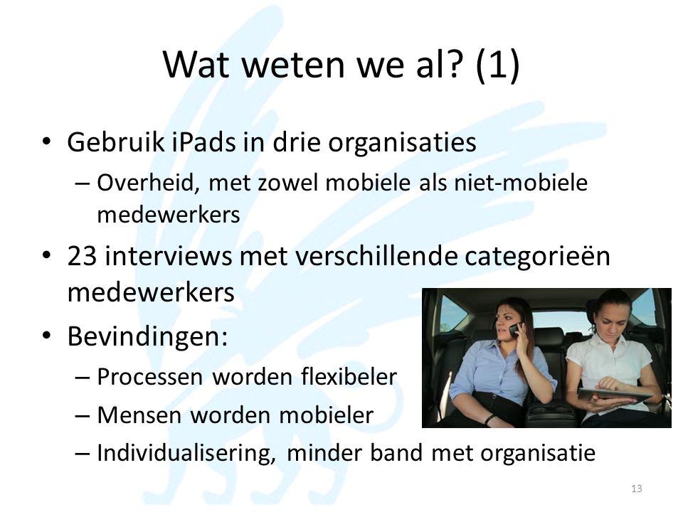 Wat weten we al? (1) • Gebruik iPads in drie organisaties – Overheid, met zowel mobiele als niet-mobiele medewerkers • 23 interviews met verschillende
