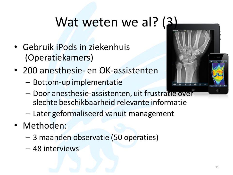 Wat weten we al? (3) • Gebruik iPods in ziekenhuis (Operatiekamers) • 200 anesthesie- en OK-assistenten – Bottom-up implementatie – Door anesthesie-as