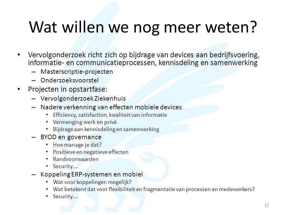 Wat willen we nog meer weten? • Vervolgonderzoek richt zich op bijdrage van devices aan bedrijfsvoering, informatie- en communicatieprocessen, kennisd