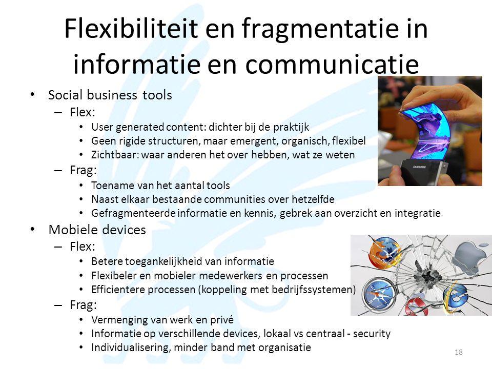Flexibiliteit en fragmentatie in informatie en communicatie • Social business tools – Flex: • User generated content: dichter bij de praktijk • Geen r