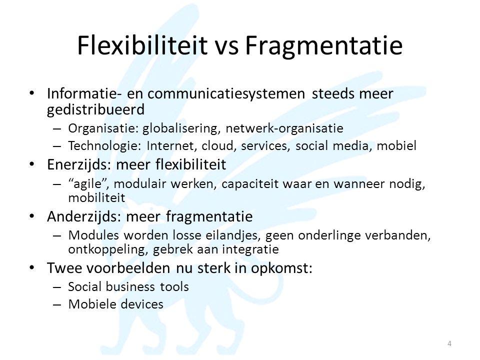Flexibiliteit vs Fragmentatie • Informatie- en communicatiesystemen steeds meer gedistribueerd – Organisatie: globalisering, netwerk-organisatie – Tec