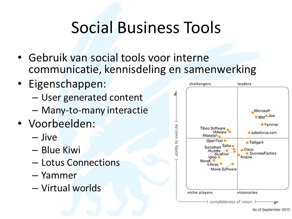 Social Business Tools • Gebruik van social tools voor interne communicatie, kennisdeling en samenwerking • Eigenschappen: – User generated content – M