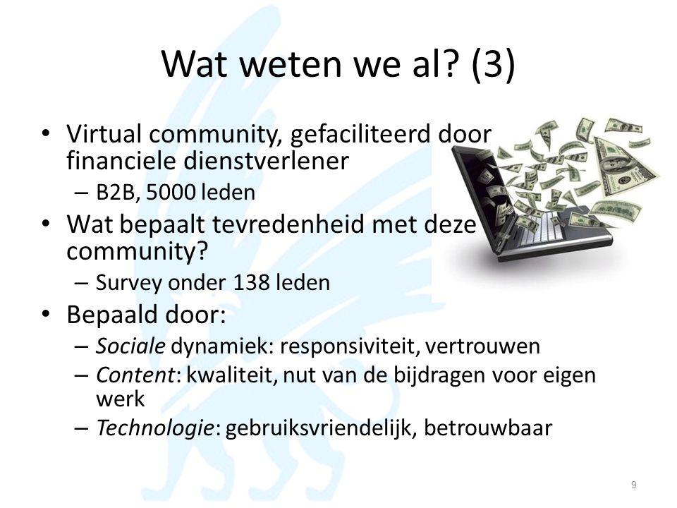 Wat weten we al? (3) • Virtual community, gefaciliteerd door financiele dienstverlener – B2B, 5000 leden • Wat bepaalt tevredenheid met deze community