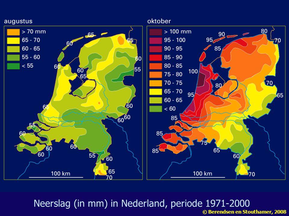 Neerslag (in mm) in Nederland, periode 1971-2000 © Berendsen en Stouthamer, 2008