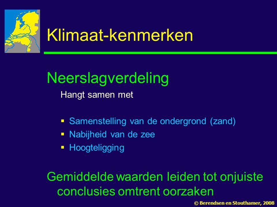 Klimaat-kenmerken Neerslagverdeling Hangt samen met  Samenstelling van de ondergrond (zand)  Nabijheid van de zee  Hoogteligging Gemiddelde waarden