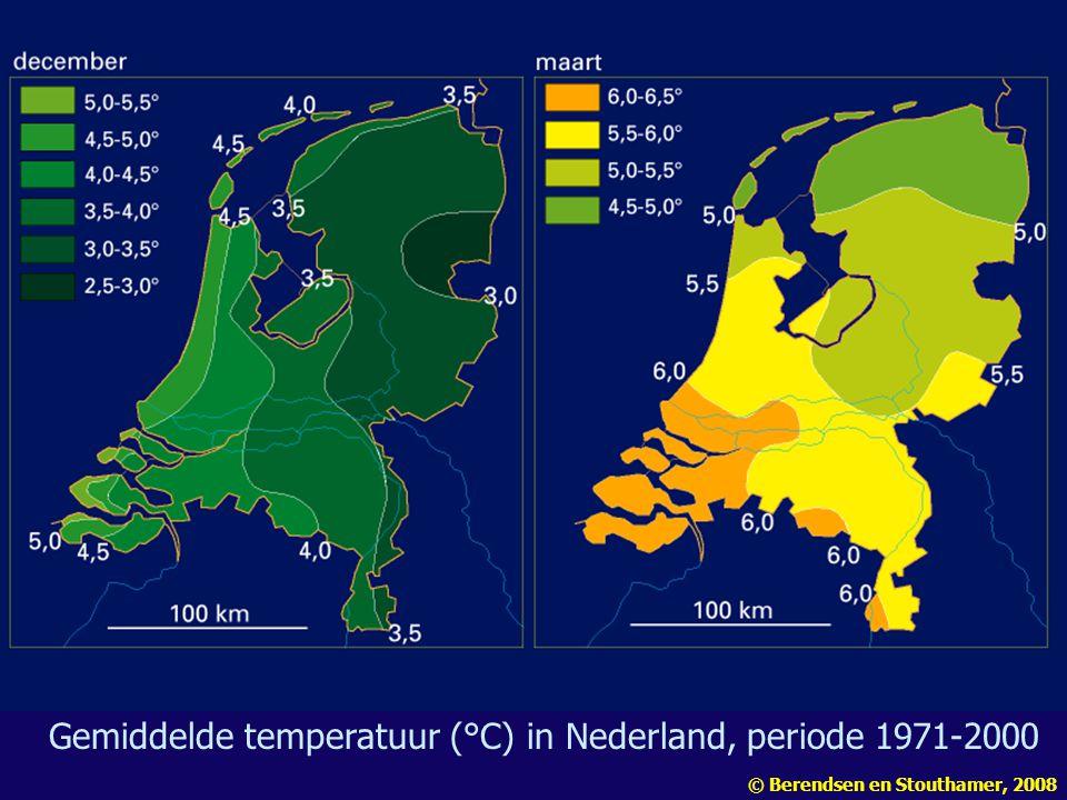 Gemiddelde temperatuur (°C) in Nederland, periode 1971-2000 © Berendsen en Stouthamer, 2008
