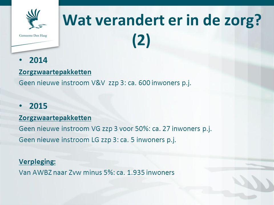 Wat verandert er in de zorg.(2) • 2014 Zorgzwaartepakketten Geen nieuwe instroom V&V zzp 3: ca.