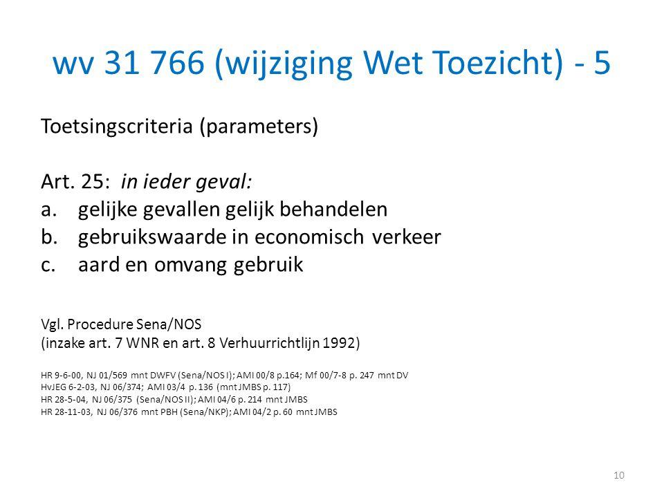 wv 31 766 (wijziging Wet Toezicht) - 5 Toetsingscriteria (parameters) Art. 25: in ieder geval: a.gelijke gevallen gelijk behandelen b.gebruikswaarde i