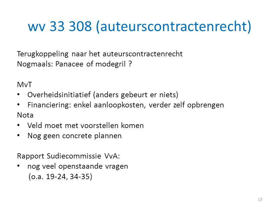 wv 33 308 (auteurscontractenrecht) Terugkoppeling naar het auteurscontractenrecht Nogmaals: Panacee of modegril ? MvT • Overheidsinitiatief (anders ge