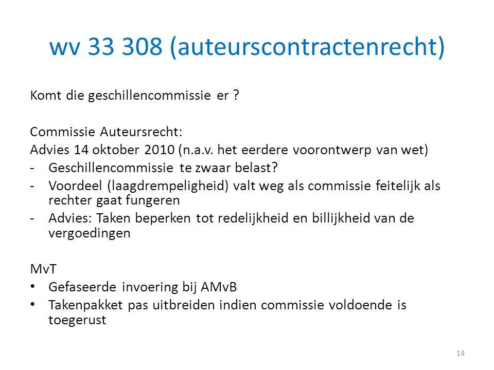 wv 33 308 (auteurscontractenrecht) Komt die geschillencommissie er ? Commissie Auteursrecht: Advies 14 oktober 2010 (n.a.v. het eerdere voorontwerp va