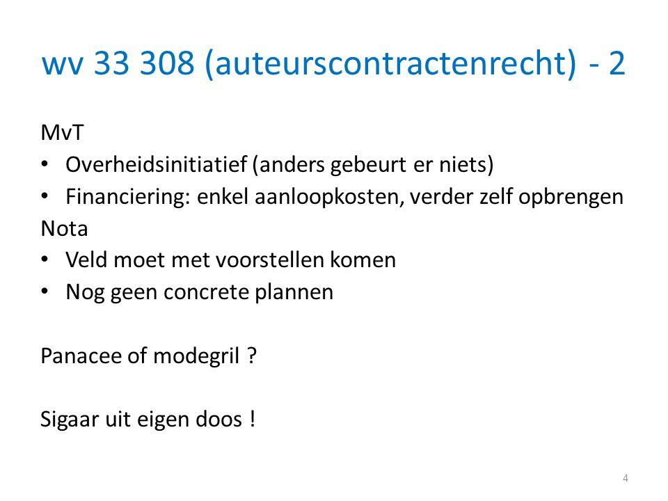 wv 33 308 (auteurscontractenrecht) - 2 MvT • Overheidsinitiatief (anders gebeurt er niets) • Financiering: enkel aanloopkosten, verder zelf opbrengen