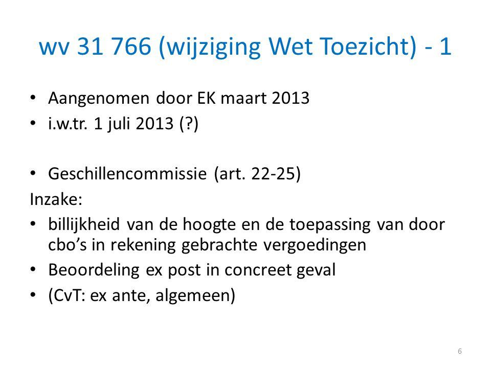 wv 31 766 (wijziging Wet Toezicht) - 1 • Aangenomen door EK maart 2013 • i.w.tr. 1 juli 2013 (?) • Geschillencommissie (art. 22-25) Inzake: • billijkh