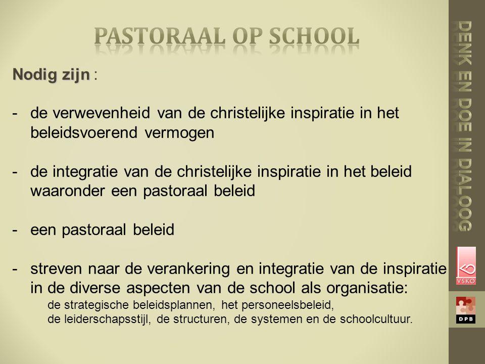 Nodig zijn Nodig zijn : -de verwevenheid van de christelijke inspiratie in het beleidsvoerend vermogen -de integratie van de christelijke inspiratie in het beleid waaronder een pastoraal beleid -een pastoraal beleid -streven naar de verankering en integratie van de inspiratie in de diverse aspecten van de school als organisatie: de strategische beleidsplannen, het personeelsbeleid, de leiderschapsstijl, de structuren, de systemen en de schoolcultuur.