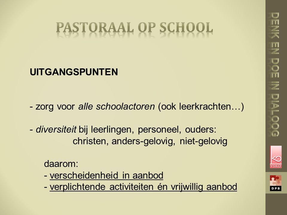 UITGANGSPUNTEN - zorg voor alle schoolactoren (ook leerkrachten…) - diversiteit bij leerlingen, personeel, ouders: christen, anders-gelovig, niet-gelovig daarom: - verscheidenheid in aanbod - verplichtende activiteiten én vrijwillig aanbod
