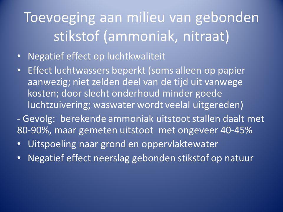 Toevoeging aan milieu van gebonden stikstof (ammoniak, nitraat) • Negatief effect op luchtkwaliteit • Effect luchtwassers beperkt (soms alleen op papier aanwezig; niet zelden deel van de tijd uit vanwege kosten; door slecht onderhoud minder goede luchtzuivering; waswater wordt veelal uitgereden) - Gevolg: berekende ammoniak uitstoot stallen daalt met 80-90%, maar gemeten uitstoot met ongeveer 40-45% • Uitspoeling naar grond en oppervlaktewater • Negatief effect neerslag gebonden stikstof op natuur