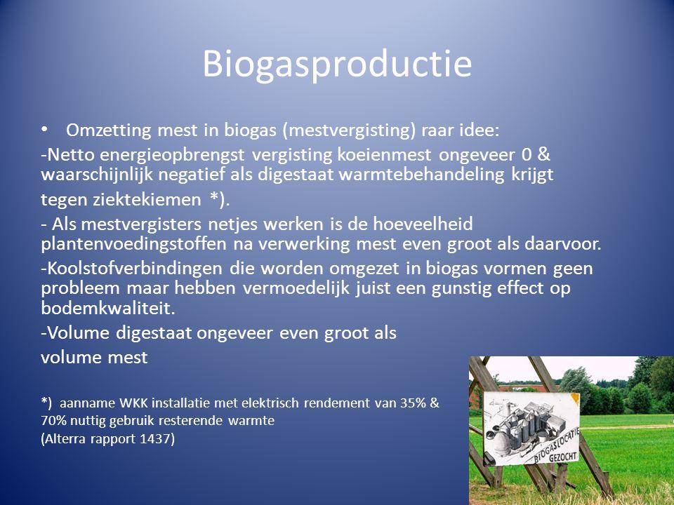 Biogasproductie • Omzetting mest in biogas (mestvergisting) raar idee: -Netto energieopbrengst vergisting koeienmest ongeveer 0 & waarschijnlijk negatief als digestaat warmtebehandeling krijgt tegen ziektekiemen *).