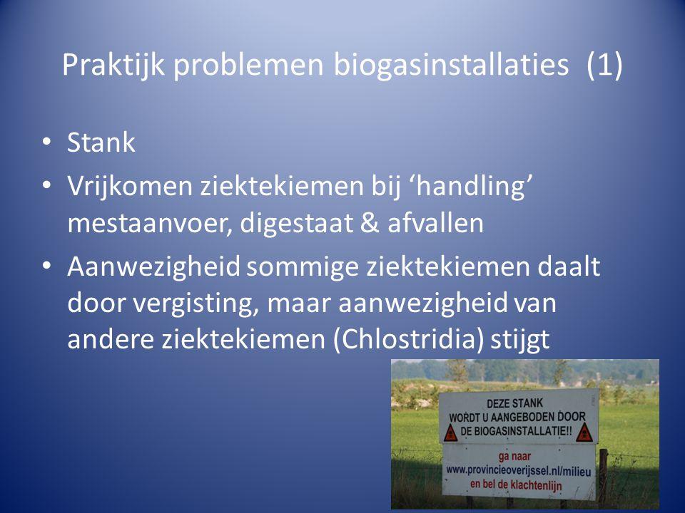 Praktijk problemen biogasinstallaties (1) • Stank • Vrijkomen ziektekiemen bij 'handling' mestaanvoer, digestaat & afvallen • Aanwezigheid sommige ziektekiemen daalt door vergisting, maar aanwezigheid van andere ziektekiemen (Chlostridia) stijgt