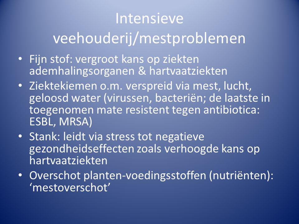 Intensieve veehouderij/mestproblemen • Fijn stof: vergroot kans op ziekten ademhalingsorganen & hartvaatziekten • Ziektekiemen o.m.