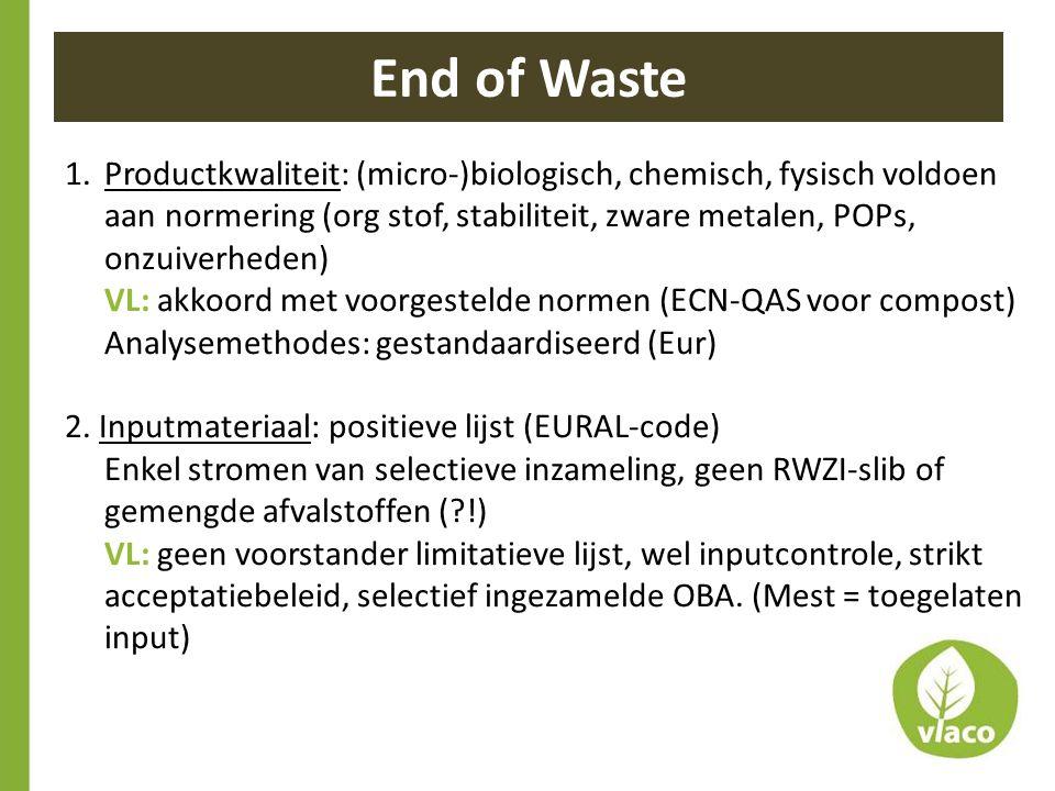 1.Productkwaliteit: (micro-)biologisch, chemisch, fysisch voldoen aan normering (org stof, stabiliteit, zware metalen, POPs, onzuiverheden) VL: akkoor