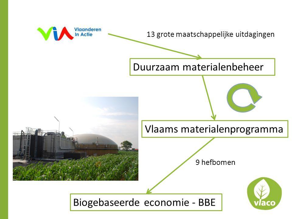 Duurzaam materialenbeheer Vlaams materialenprogramma Biogebaseerde economie - BBE 9 hefbomen 13 grote maatschappelijke uitdagingen