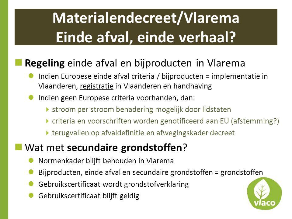Materialendecreet/Vlarema Einde afval, einde verhaal?  Regeling einde afval en bijproducten in Vlarema  Indien Europese einde afval criteria / bijpr