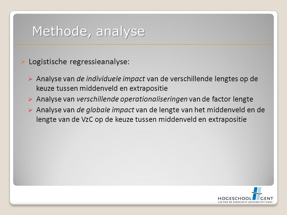  Logistische regressieanalyse:  Analyse van de individuele impact van de verschillende lengtes op de keuze tussen middenveld en extrapositie  Analyse van verschillende operationaliseringen van de factor lengte  Analyse van de globale impact van de lengte van het middenveld en de lengte van de VzC op de keuze tussen middenveld en extrapositie Methode, analyse