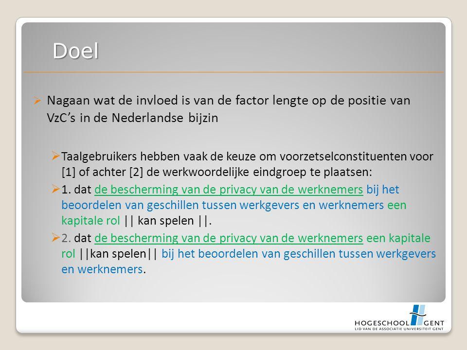  Nagaan wat de invloed is van de factor lengte op de positie van VzC's in de Nederlandse bijzin  Taalgebruikers hebben vaak de keuze om voorzetselconstituenten voor [1] of achter [2] de werkwoordelijke eindgroep te plaatsen:  1.