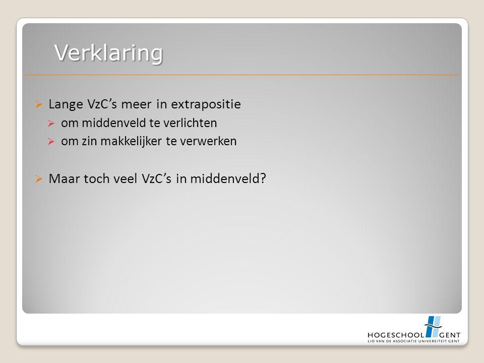  Lange VzC's meer in extrapositie  om middenveld te verlichten  om zin makkelijker te verwerken  Maar toch veel VzC's in middenveld.