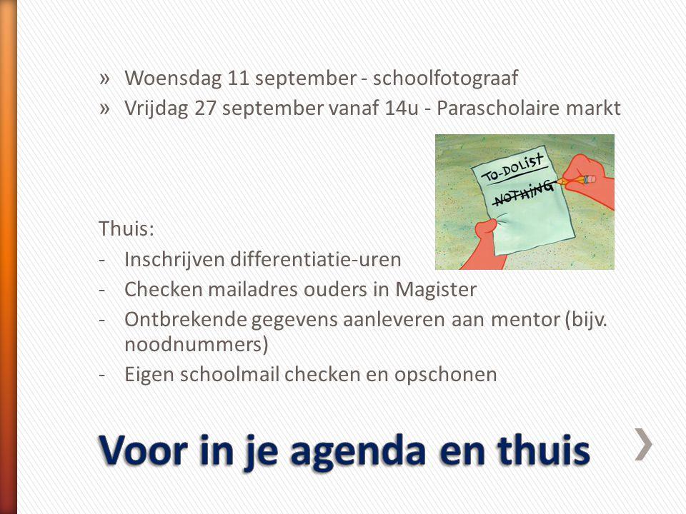» Woensdag 11 september - schoolfotograaf » Vrijdag 27 september vanaf 14u - Parascholaire markt Thuis: -Inschrijven differentiatie-uren -Checken mail